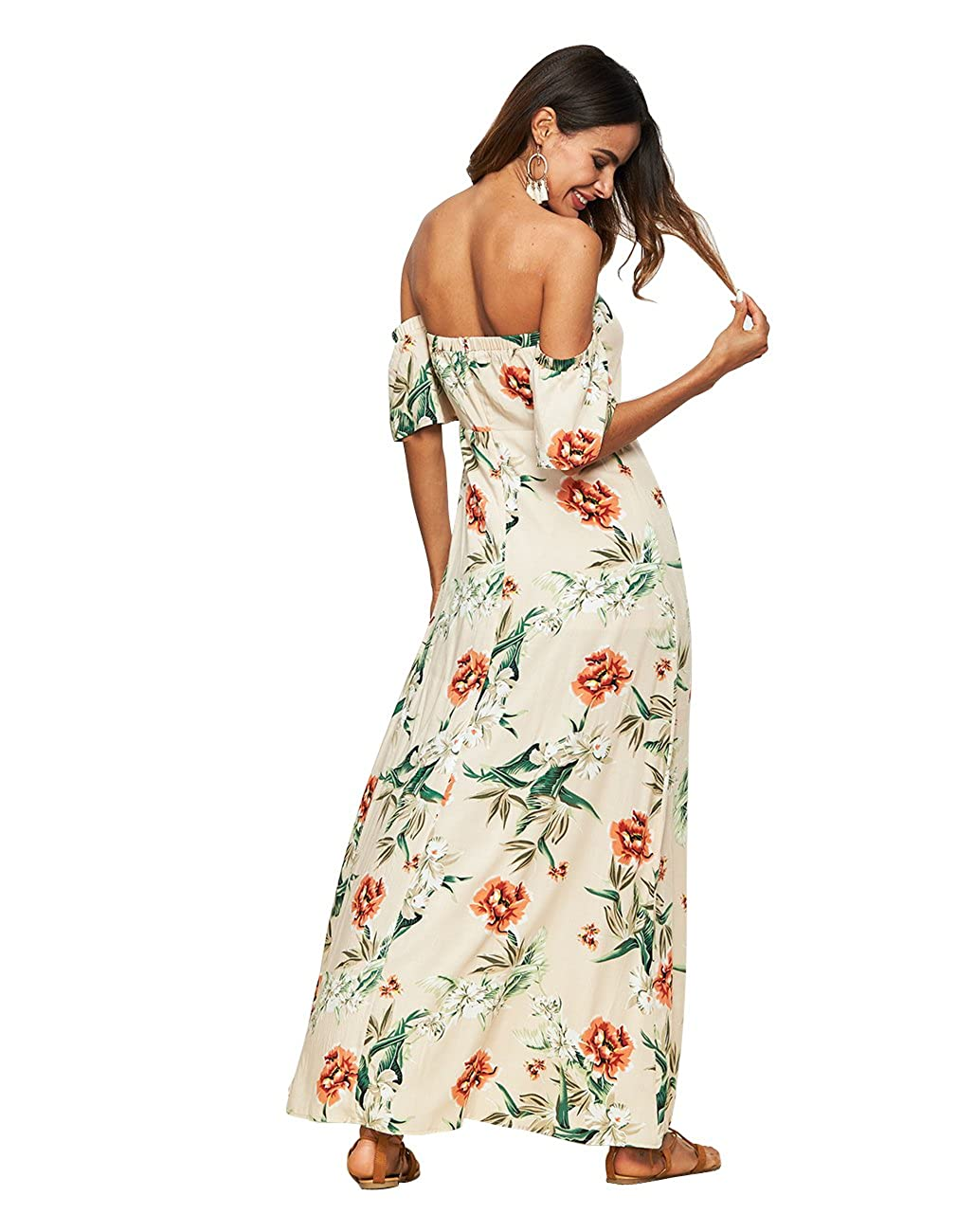 9fde3af482a Sanifer Women s Sexy Off Shoulder Floral Boho Maxi Dress Long Summer Dresses  at Amazon Women s Clothing store