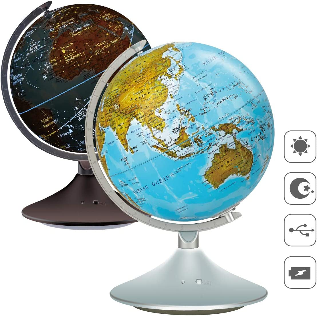 VIDAR 9'' Cartography Illuminated World Globe,Desktop LED Star Constellation Globe & Nightlight with Steel Stand,Exploration Earth Globe for Kids Learning Demo Home Office Desk Decoration