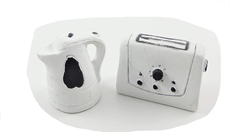 Melody Jane Dollhouse Modern White Kettle & Toaster Miniature 1:12 Kitchen Accessory
