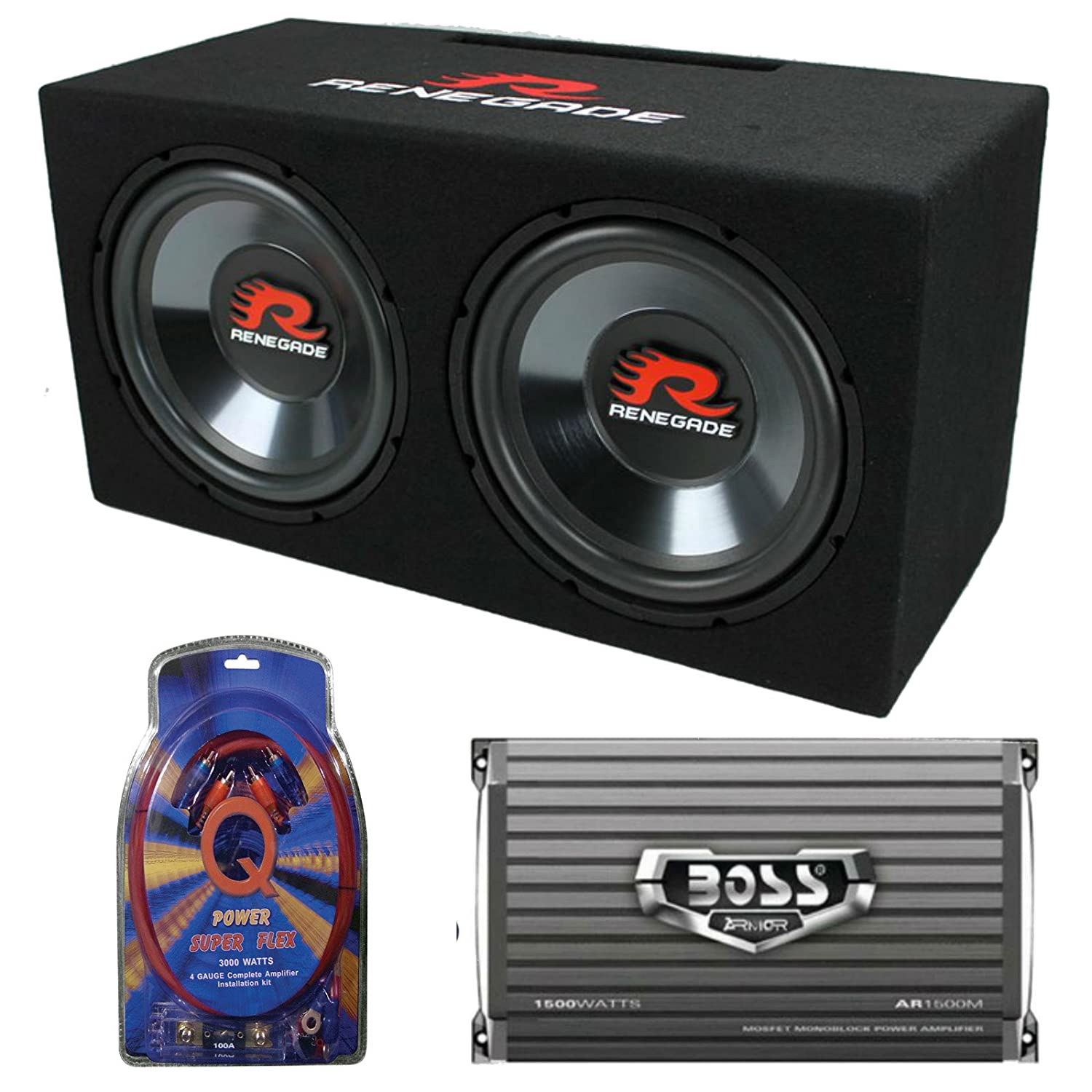 Renegade Rxv1202 12 1200w Dual Car Subwoofers Box New 4 Gauge Power Amplifier Amp Kit 1200 Watt Install Wiring 1500w Mono Electronics