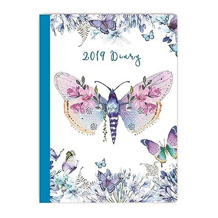 2019 - Agenda semanal con diseño de mariposas (20 x 15 cm ...