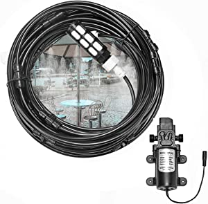 ACBungji Misting Cooling System with Pump Filter Kit,20ft/6M Water Line 6 Brass Mist Nozzle 116 PSI 5L/Min DIY for Outdooor Patio Porch Backyard Greenhouse
