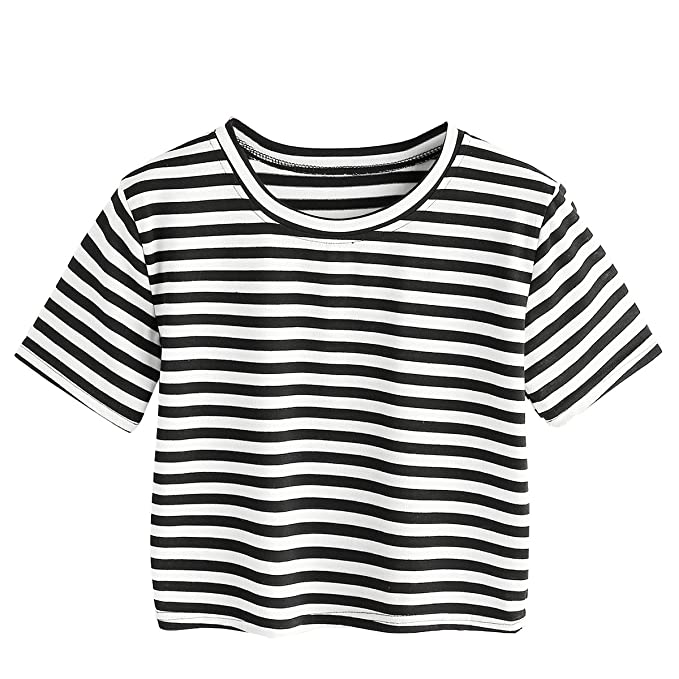 3f033781a1 SheIn Women's Casual Round Neck Short Sleeve Striped Crop Top Small  Black&White