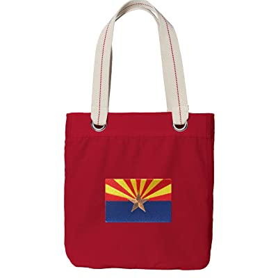 Arizona Flag Tote Bag RICH Dye Washed RED COTTON CANVAS