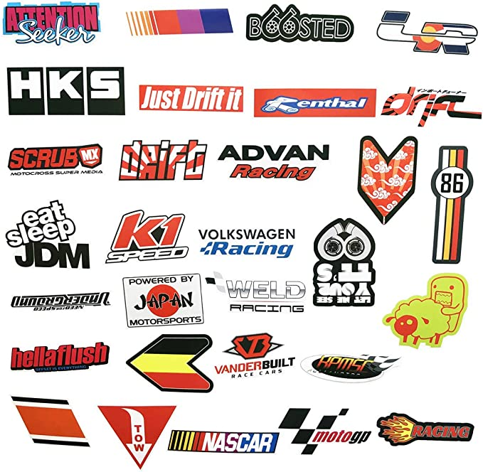 100Pcs JDM Glossy Pack Car Bike Laptop Snowboard Skateboard Decal Sticker