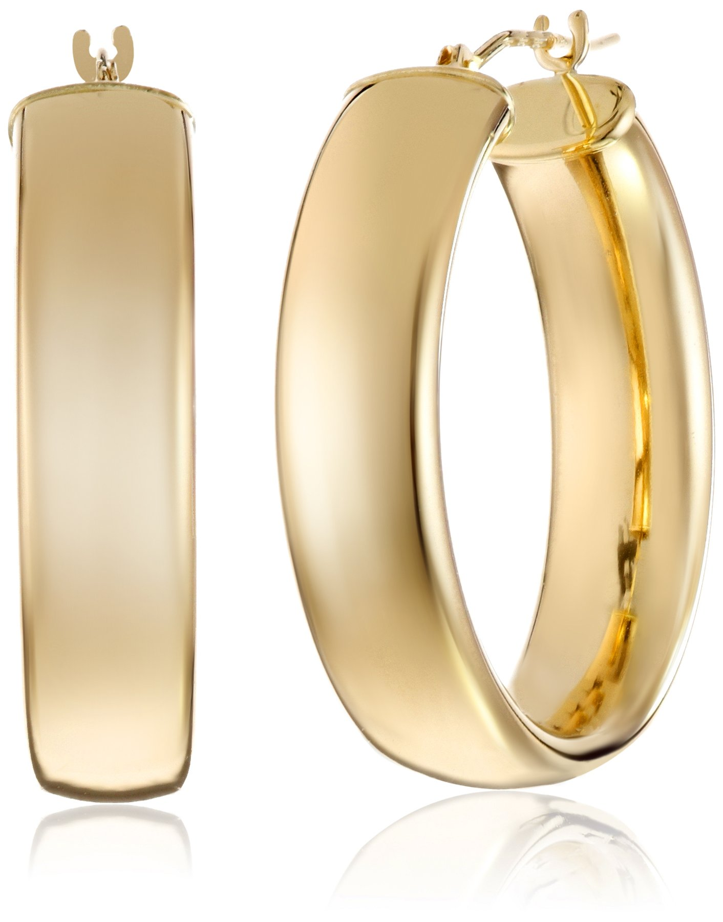 14k Yellow Gold Polished Wedding Band Hoop Earrings