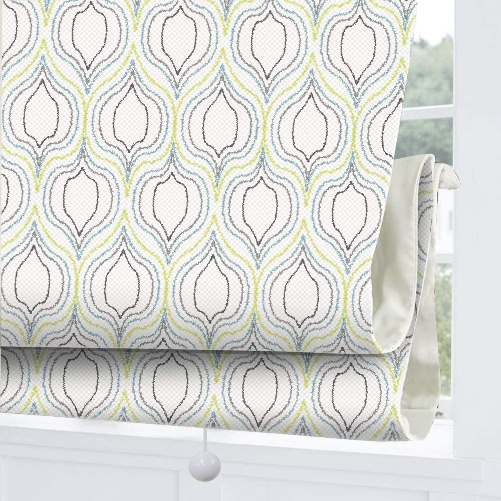 Cordless Roman Shades Window Blinds, Grey Geometric Premium Blackout Roman Window Shades, Custom Washable Fabric Roman Shades for Windows, Doors, French Doors, Kitchen Windows (1 Piece)