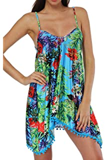d86badca7e Zilcremo Women Summer Casual Spaghetti Straps Floral Print Backless Tunic  Beach Dress