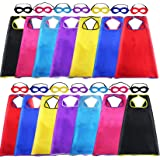 Super Hero Capes and Masks for Kids Bulk, 14 Pack Superhero Costume for Birthday Party Supplies, Superhero Toys for Age 3-9