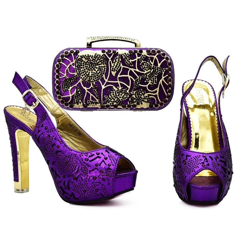 Purple HUALI Elegant High Heel African Women shoes Bag Set with Stones Heel 12cm Purple