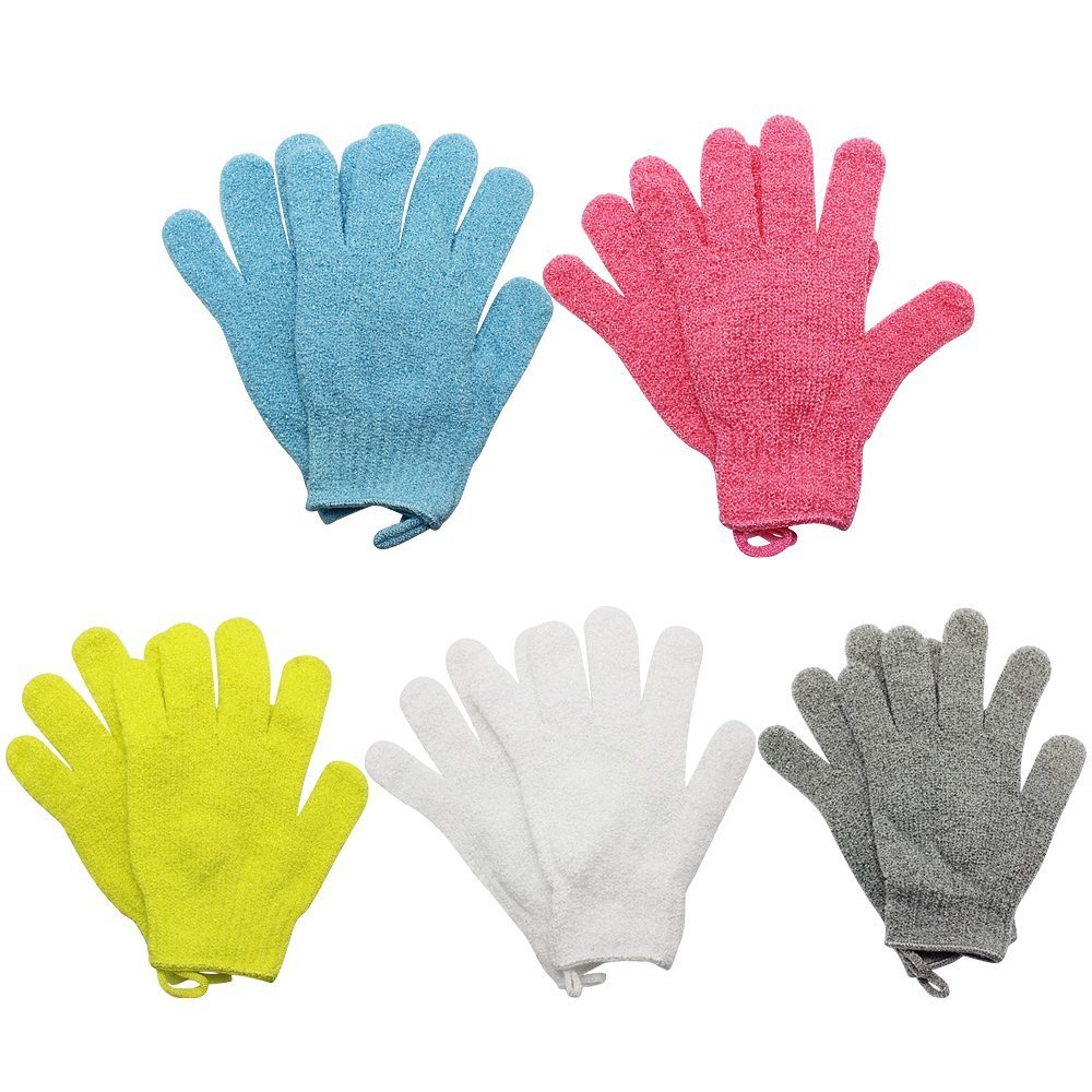 Homgaty 5paio doccia esfoliante spa guanti da bagno di lavaggio del corpo massaggio