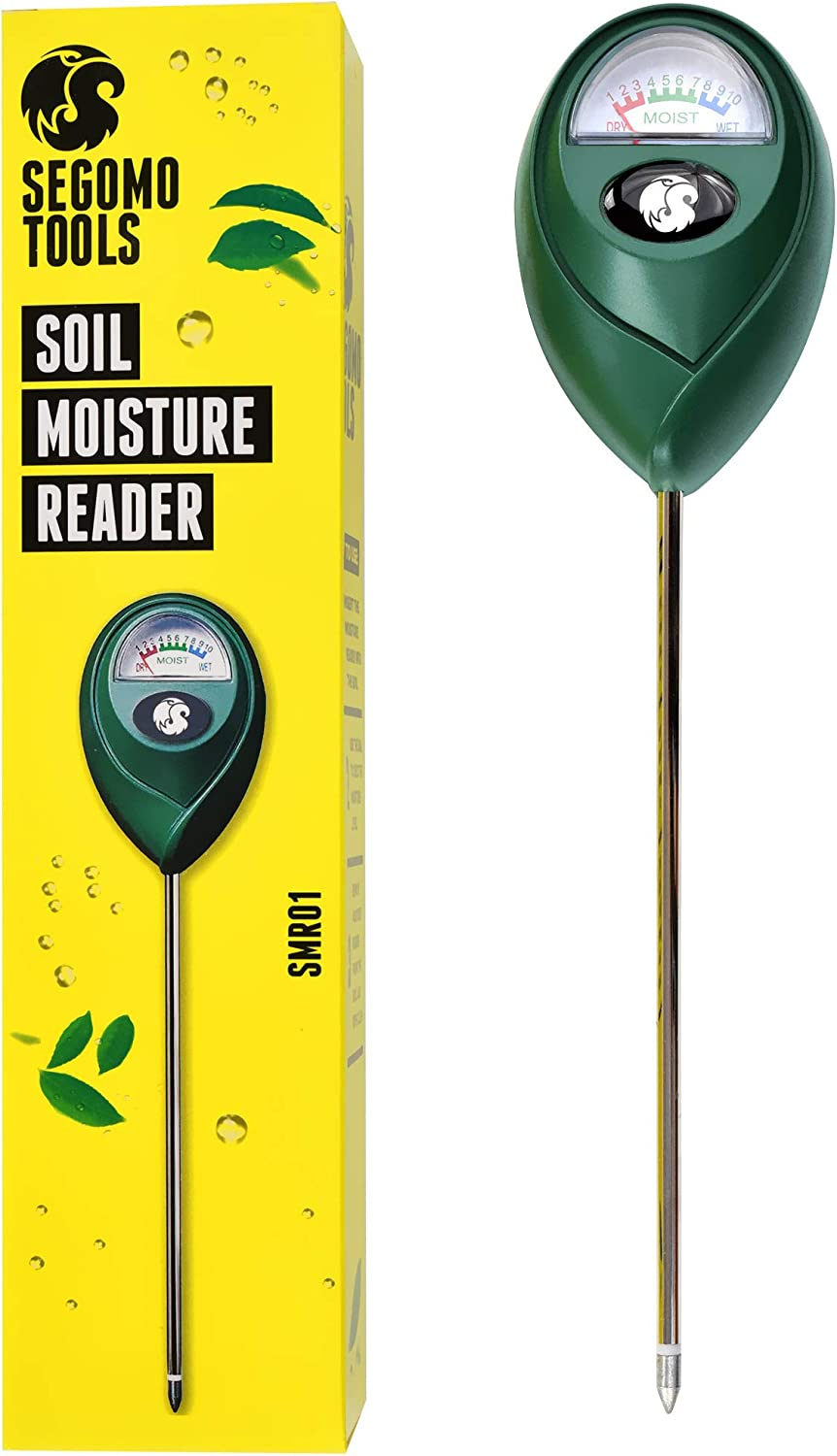 Segomo Tools Soil Moisture Hygrometer Sensor & Reader (for Gardening, Plants, Lawns, Farms) - SMR01