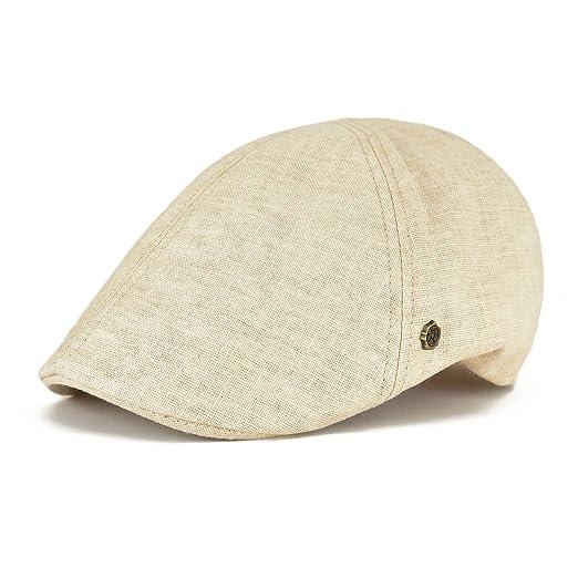 a1b71f8f4bc VOBOOM Linen Flat Cap Cabbie Hat Gatsby Ivy Irish Hunting Newsboy (Beige)