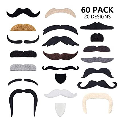 2bd30eed211 Image Unavailable. Image not available for. Color  60 Pcs Fake Mustaches  Self Adhesive (20 Designs) Novelty Hairy Beard Costume ...