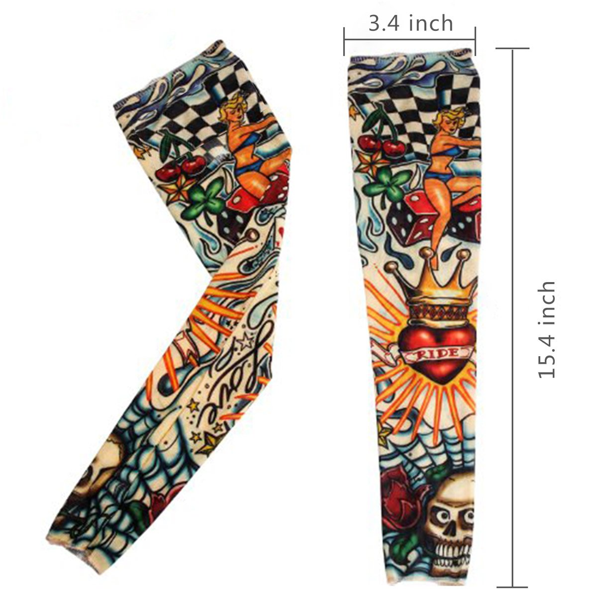 20PCS Set Arts Fake Temporary Tattoo Arm Sunscreen Sleeves - AKStore - Designs Tiger, Crown Heart, Skull, Tribal and Etc by Akstore (Image #2)