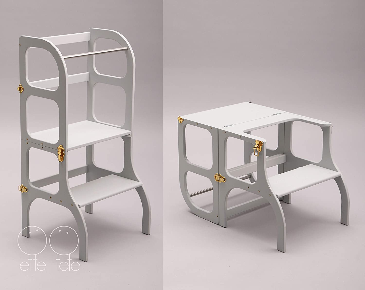 Convertible Helper tower - table/chair Step'n'Sit all-in-one, Montessori learning stool, kitchen step stool - GRAY color/GOLD clasps