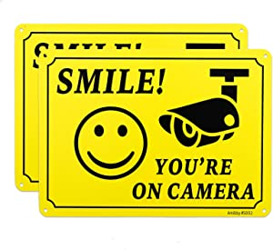 Amibby 2-Pack Smile You're on Camera Sign, Upgrading Video Surveillance Signs Outdoor, 40 Mil Premium Rust Free Aluminum 10 x 7 Inch, Security Camera Sign for Home, Business, Driveway Alert, CCTV.