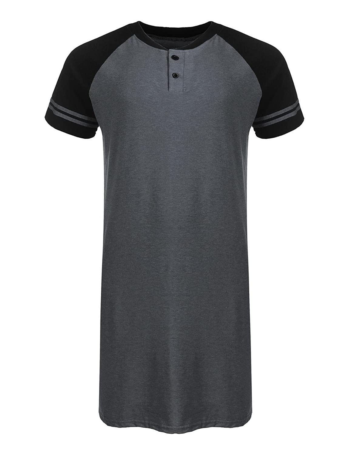 Kisshes Mens Cotton Nightshirt Summer Henley Night Shirt Short Sleeve Nightgown with Buttons Black Navy Blue