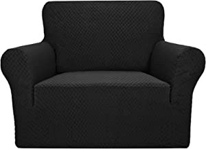 YEMYHOM Couch Cover Latest Jacquard Design High Stretch Sofa Chair Covers for Living Room, Pet Dog Cat Proof Armchair Slipcover Non Slip Magic Elastic Furniture Protector (Chair, Black)
