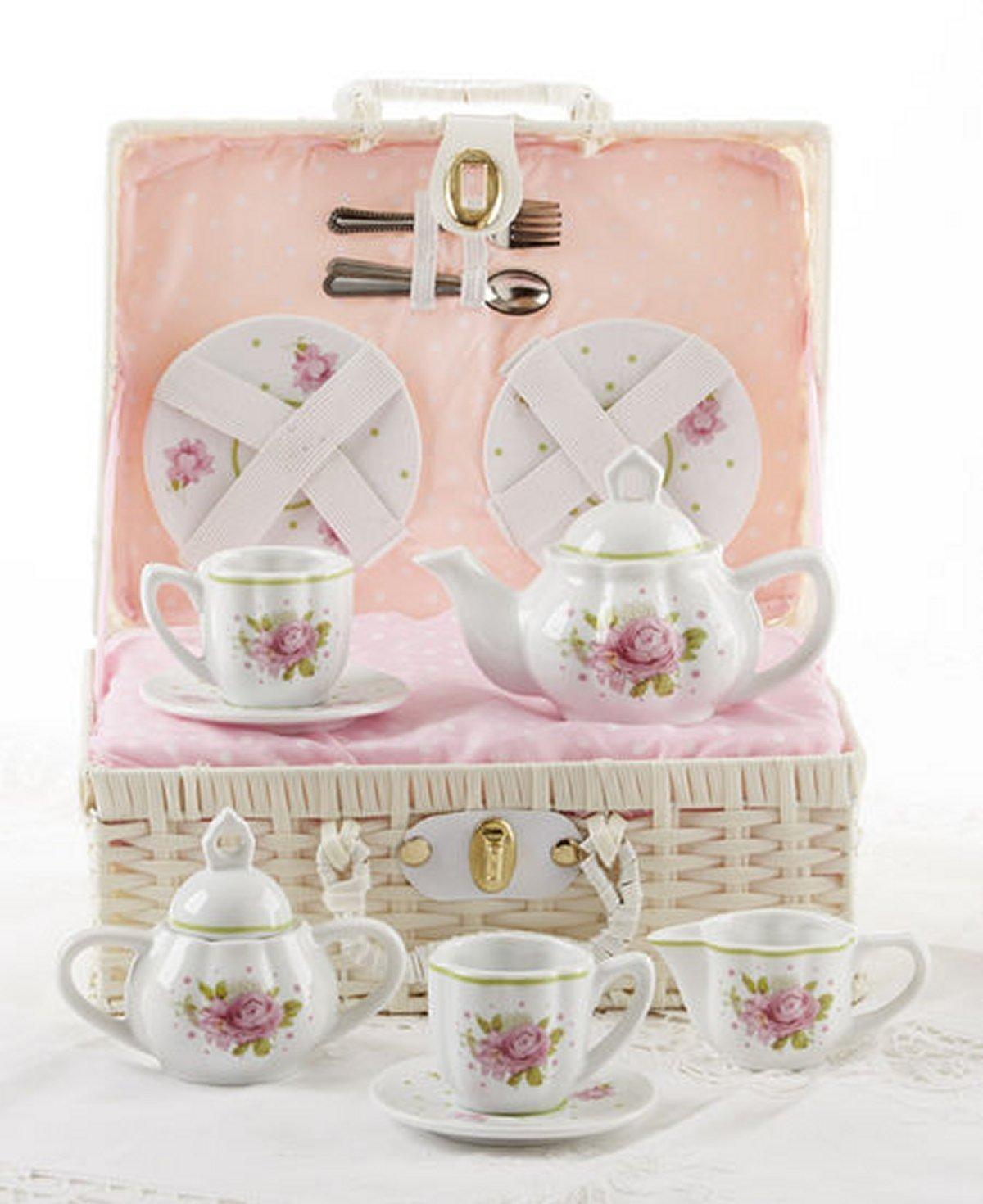 Delton Products Pink Rose Pattern Porcelain Child Tea for 2 Tea Set/Basket