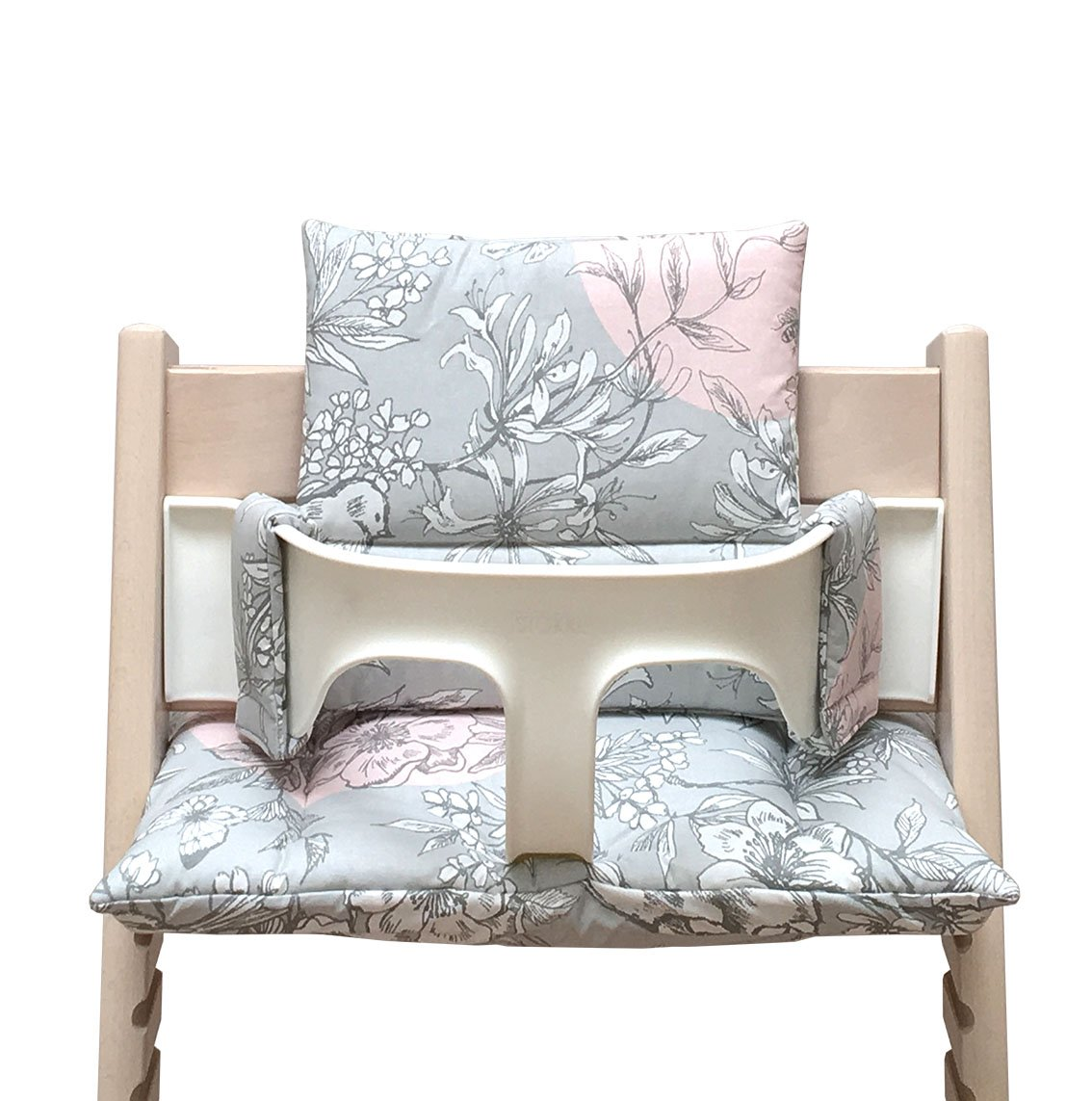 Blausberg Baby - Coated Cushion Set for Tripp Trapp High Chair of Stokke - Cherry Blossom Gray Pink Bird