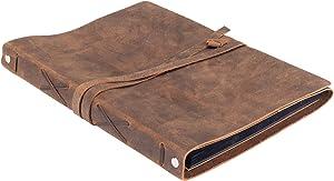 Leather Photo Album Scrap Book – Genuine Handcrafted Buffalo Leather Scrapbook and Photo Albums for Photos w/ Leather Strap – Beautiful, Authentic Handmade Wedding Photo Album Book, Photo Book