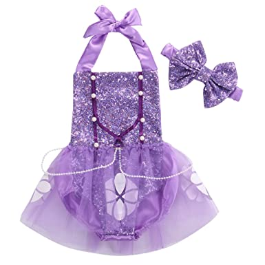 cb4ad1cc67aa Amazon.com  Toddler Princess Dress Baby Girl Sophia Sequin Romper Tulle  Jumpsuit Outfits  Clothing