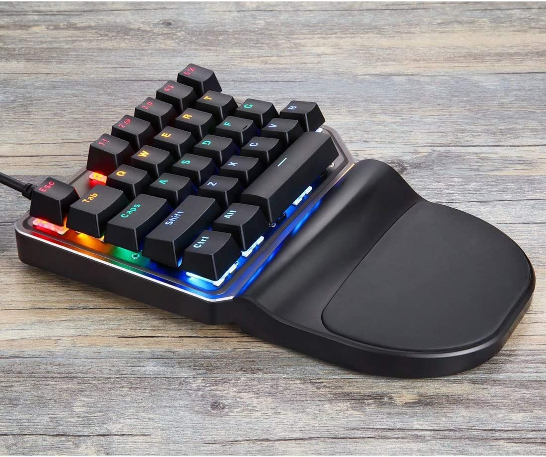 KANEED MOTOSPEED K27 USB Wired Singlehanded Mechanical Keyboard with Blue Switch 9 Colors Backlight Gaming Mice