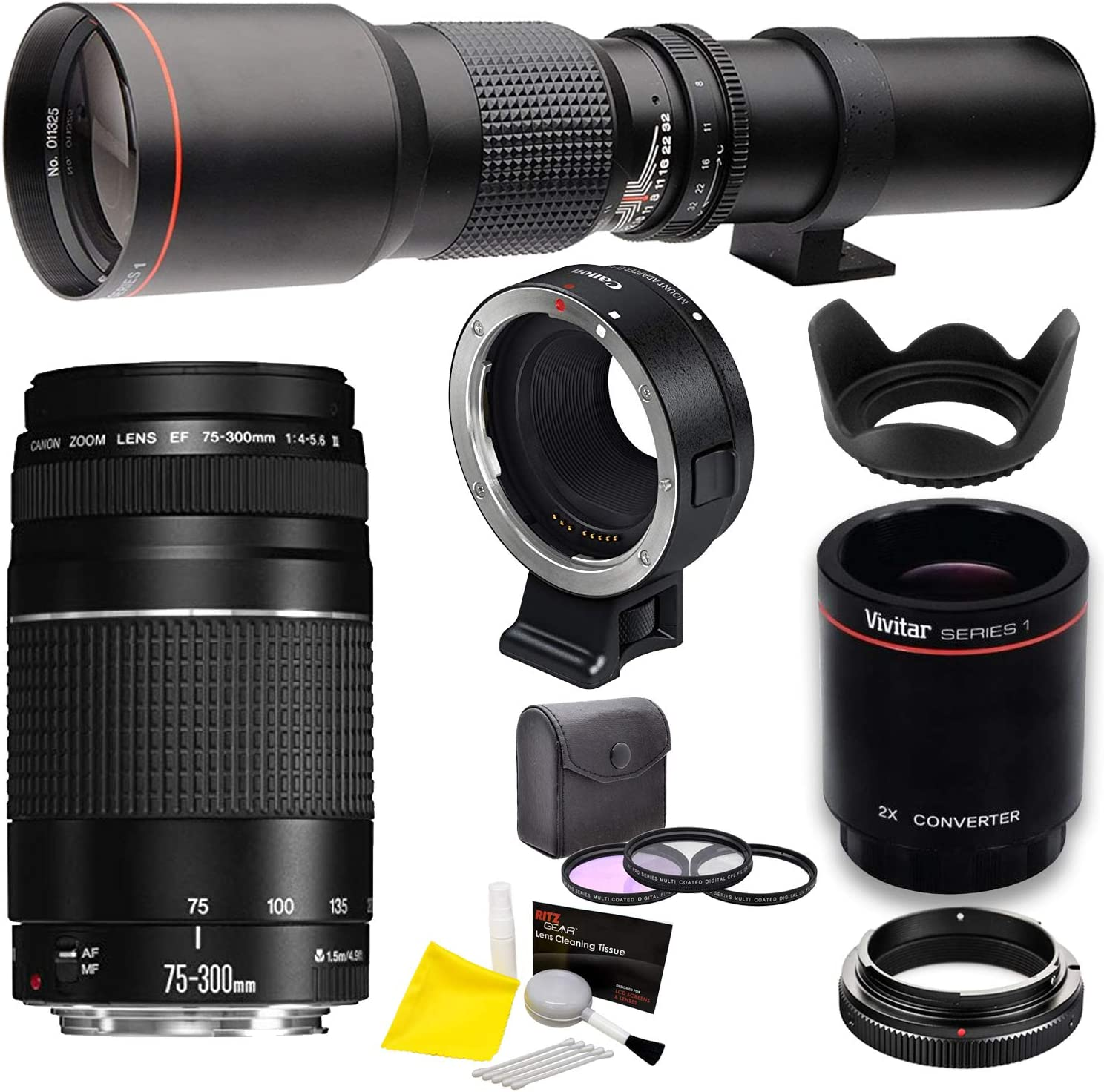with EF-EOS M Adapter Filters Canon 75-300mm III and Vivitar 500mm Lens Bundle T-Mount Bundle