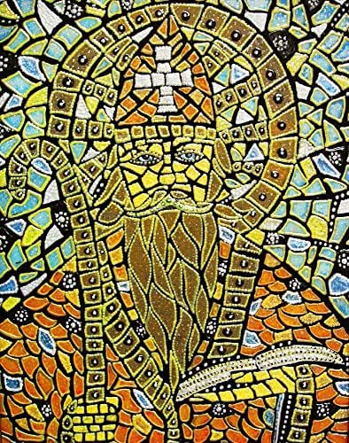 St. Augustine of Hippo Original Mixed Media Framed Mosaic Painting Christian Catholic Art Michelle Astuto Collins