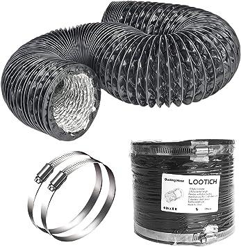 LOOTICH Fuerte Tubo Flexible de Aluminio PVC Ø150mm Longitud 2.5m para Extractor de Aire Climatización Secadora Conducto de Aire de Ventilación Sistemas con 2 Abrazaderas de Acero Negro: Amazon.es: Bricolaje y herramientas