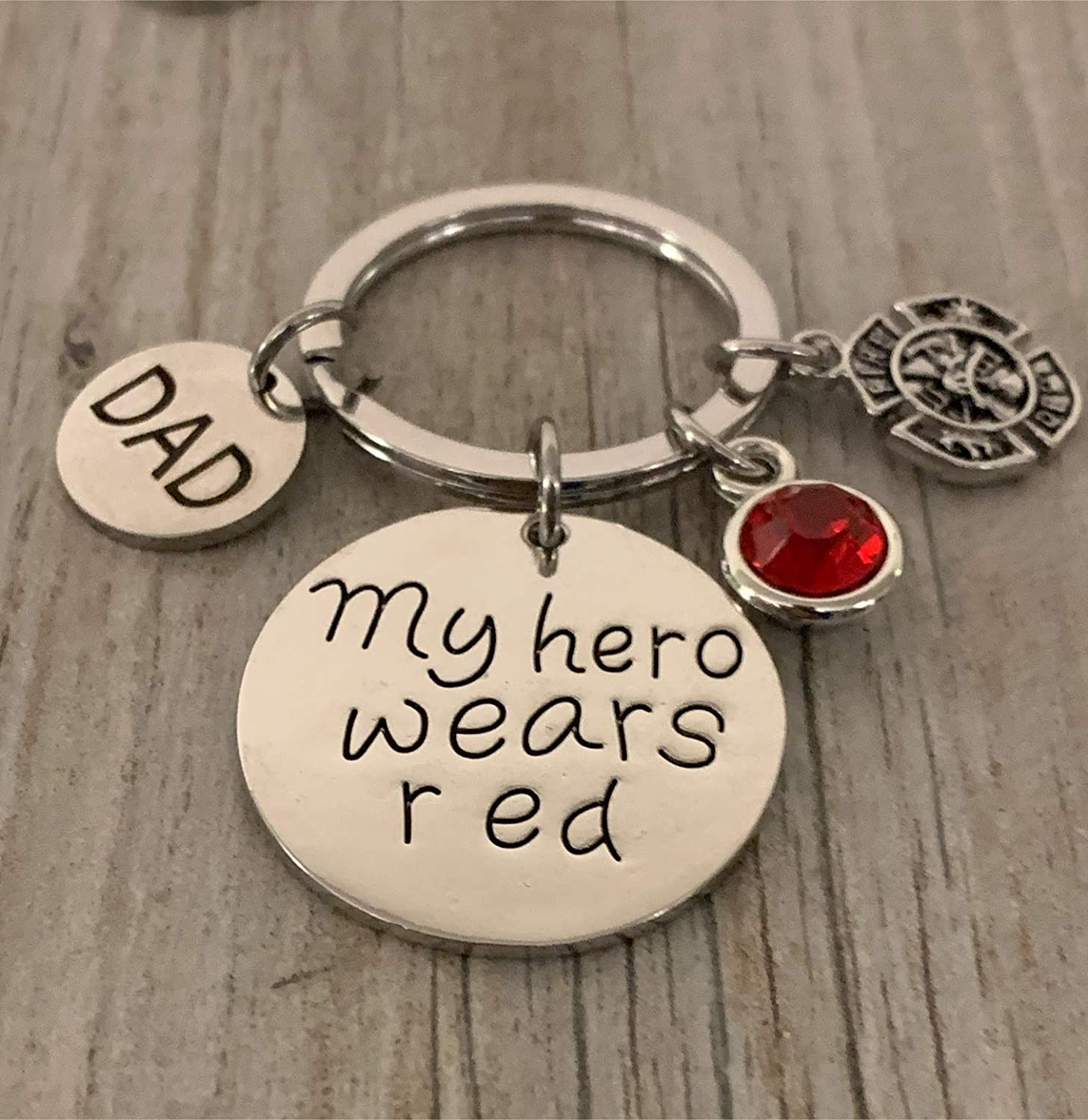 Fireman Jewelry Firefighter Daughter Gift Firefighter Keychain Dad-My Hero Wears Red Jewelry Gift for Firefighter Wife Family Daughter