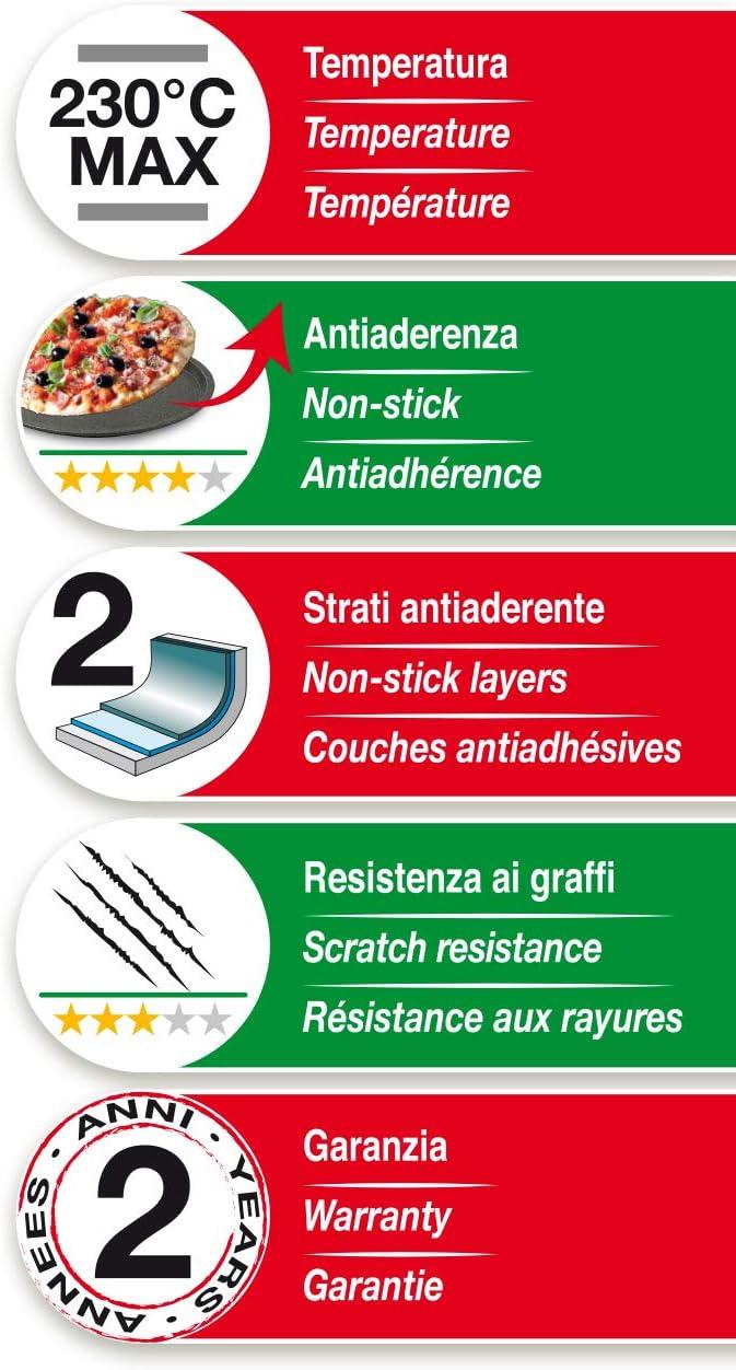 Acciaio con rivestimento antiaderente Colore nero Guardini Pizza/&Mania Tegame Pizza 28cm