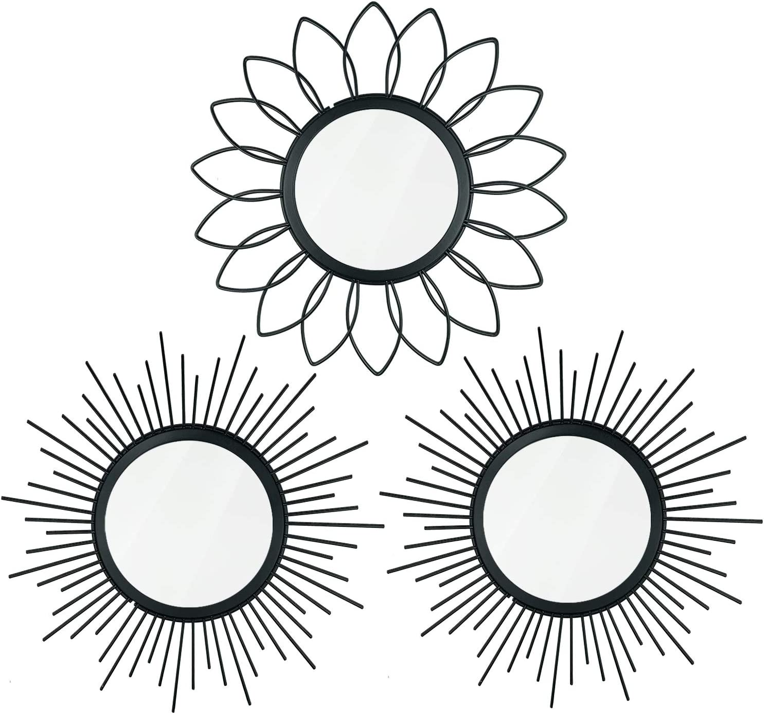 3 Pack Metal Wall Mirrors Black Circle Mirror Classic Decorative Hanging Wall Art Modern for Home Decor Bathroom Bedroom Living Room