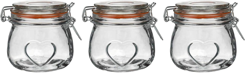 Nicola Spring Barattolo per Alimenti con Cuore e Tappo ermetico 500 ml Guarnizione Arancione in Vetro