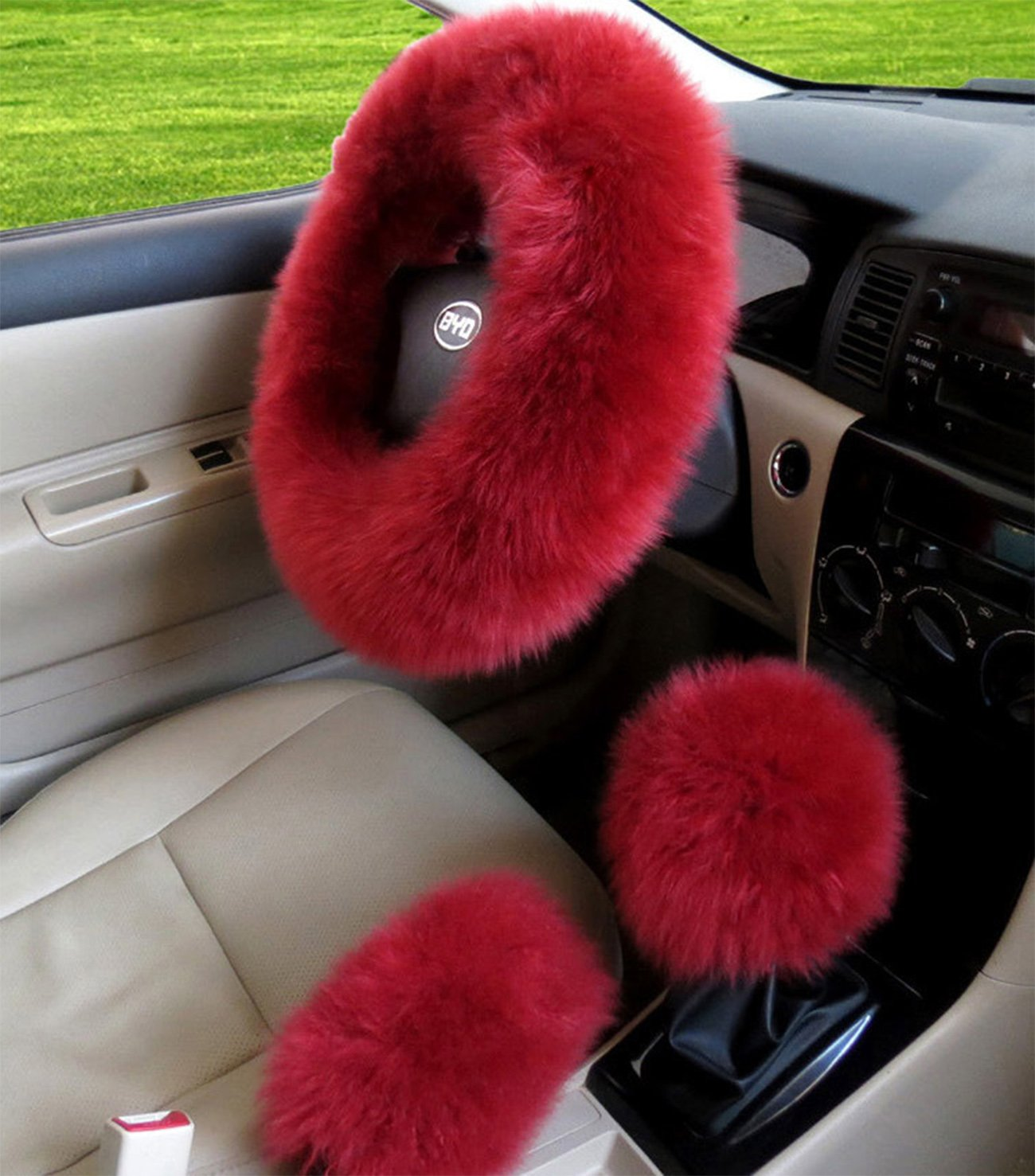 BELLESIE 3pcs 1 Set Soft Fluffy Plush Australian Wool Car Steering Wheel Cover with Handbrake Cover & Gear Shift Cover for 14.96' X 14.96' Steeling Wheel in Diameter