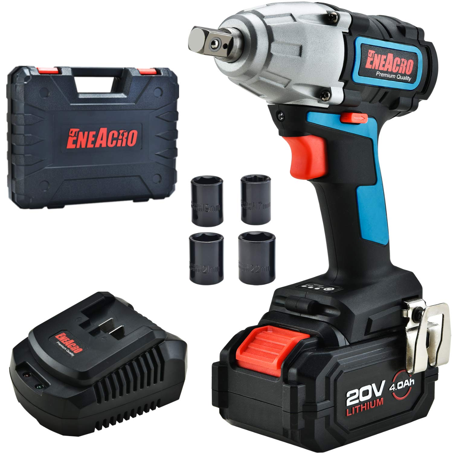 ENEACRO 20V Cordless Impact Wrench Brushless Motor 300 Ft-lb Max Torque