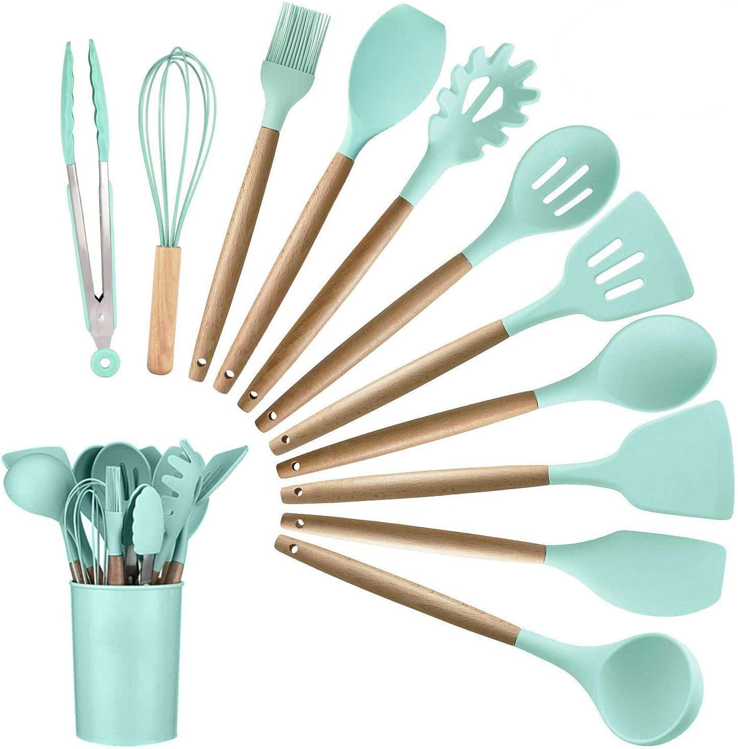 12PCS Kitchen Silicone Spatula Utensil Set Silicone Cooking Utensils Set Spatulas Silicone Heat Resistant Wooden Spoons Utensils Non-Stick for Cooking Kitchen Gadgets Tools