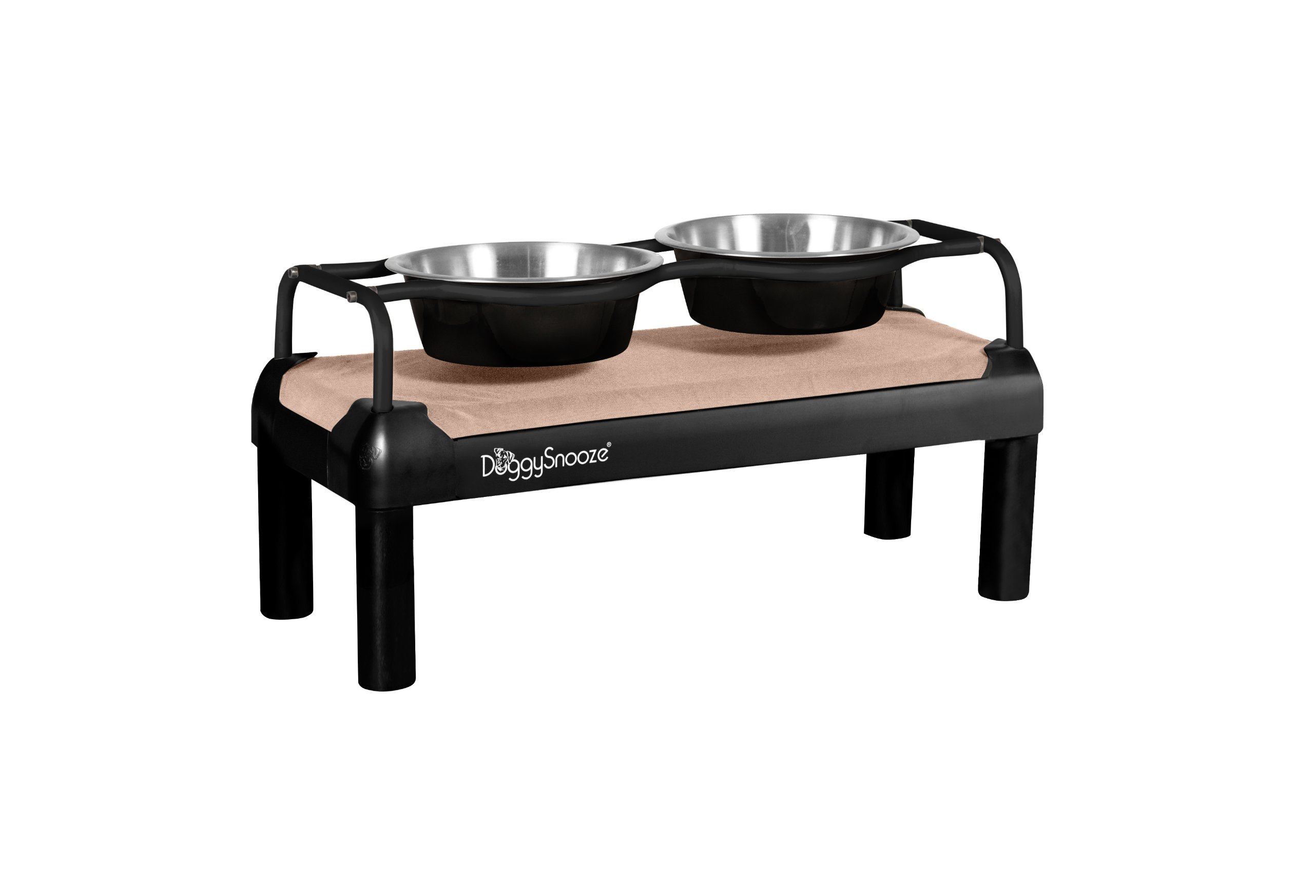 DoggySnooze Large High Diner for Dogs, Sand with Black Frame