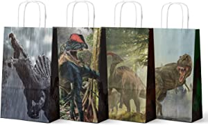 Friday Night Dinosaur Party Favor Bags, 4 Different Dinosaur Treat Candy Goodies Bag Jurassic World Party Favors for Birthday Baby Shower Party(16 Pcs)