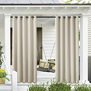 Cololeaf Outdoor Curtain for Patio Waterproof Grommet Top Thermal Insulated Blackout Outdoor Curtain Drape, Porch