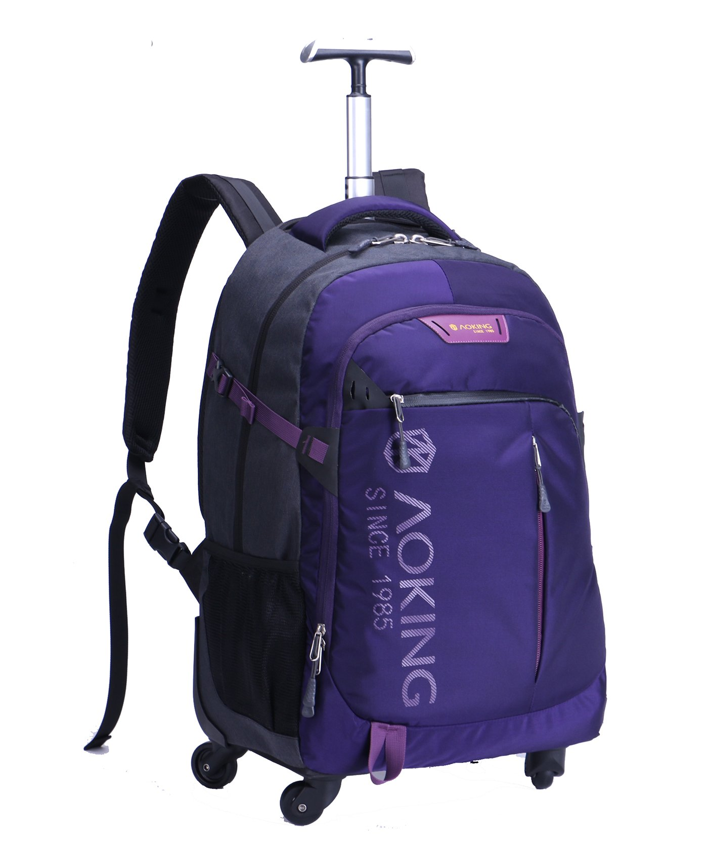AOKING 20/22 Inch Water Resistant Travel School Business Rolling Wheeled Backpack with Laptop Compartment (Purple, 20 Inch) by JOLLYCHIC (Image #2)