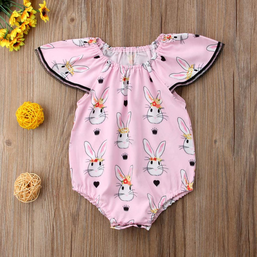 Buoyee Easter Day Infant Baby Girl Fly Sleeve Rabbit Print Jumpsuit Romper Clothes