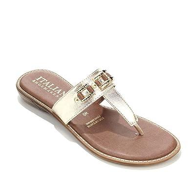 b9f0f78980e9 Italian Shoemakers Tribe Thong Sandal 531-898 Silver Size  8  Amazon ...