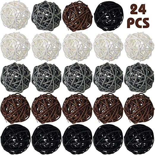 Yaomiao Wicker Rattan Balls Decorative Orbs Vase Fillers for Craft Project Baby