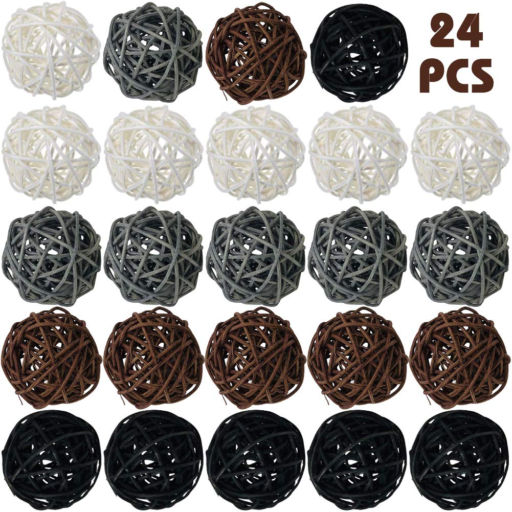 DomeStar Rattan Ball, 24PCS Orbs Vase Fillers.