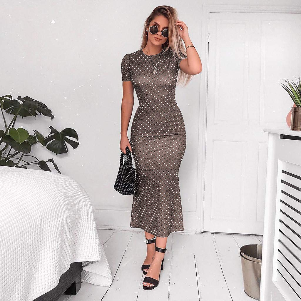 yoyorule Women Casual Top /& Dress Women Short Sleeve O Neck Dots Mermaid Dress Asymmetric Summer Sundress Holiday