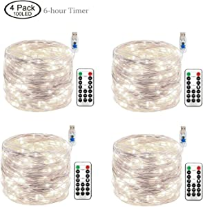 Joyathome 33ft 100LED Copper Wire String Lights Fairy String Lights 8 Modes LED String Lights USB Powered with Remote Control for Wedding Party Home Christmas Decoration, Cool White 4 Pack