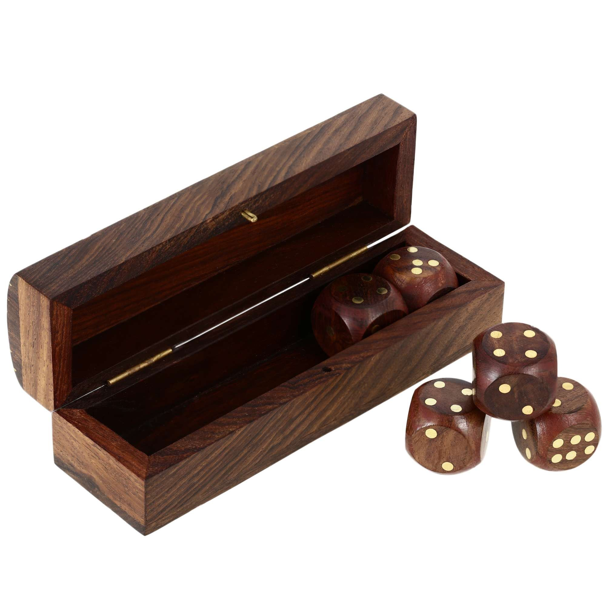Indian Game Wooden Dice Set In A Box Brass Inlay Art 5.25 X 1.5 Inch by ShalinIndia