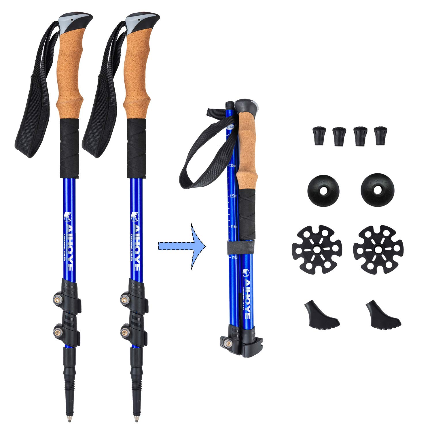 Aihoye Trekking Poles Collapsible Hiking Poles – 2 Pack Anti-Shock Adjustable 7075 Walking Sticks with Quick Flip-Lock and Cork Grips